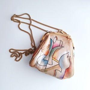 Vintage Abstract Art Mini Kiss Lock Top Purse